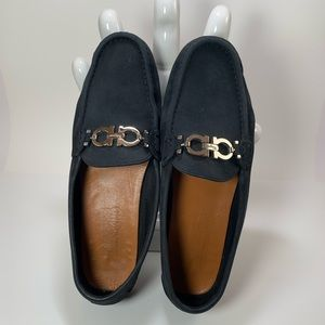 Salvatore Ferragamo Black Leather Driving Loafers